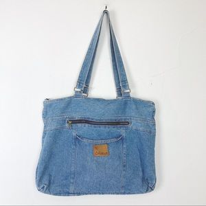 Vintage jean purse tote bag large purse light 90s